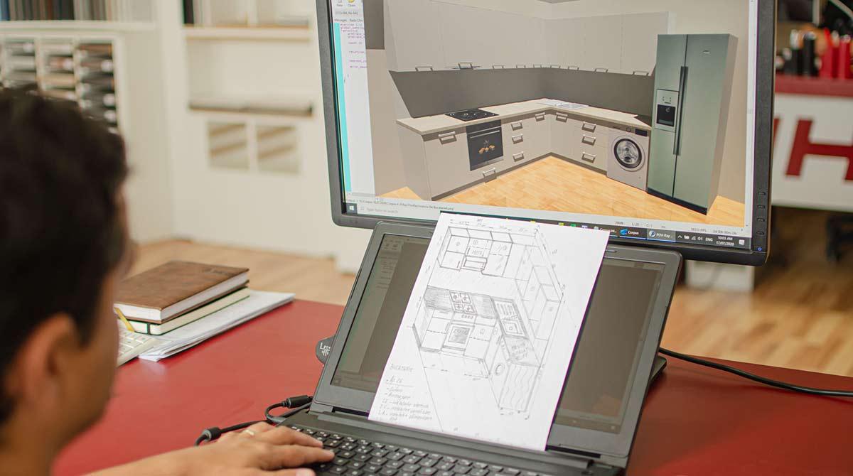 Proiectant care lucreaza intr-un program 3D